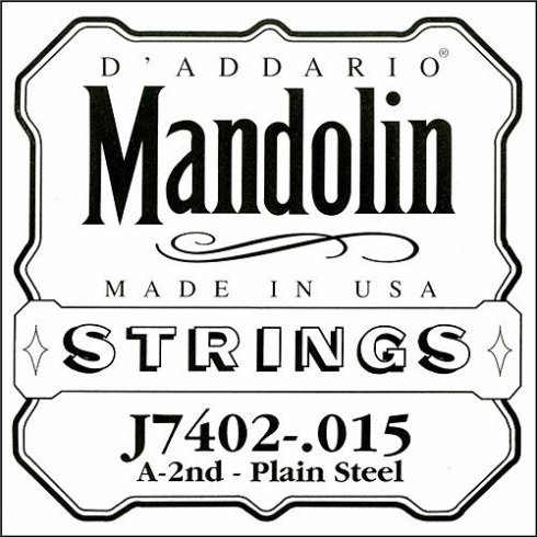D'Addario J7402 Plain Steel Mandolin Loopend Single String .015 2nd