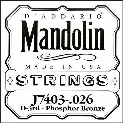 D'Addario J7403 Phosphor Bronze Mandolin Loopend Single String .026 3rd