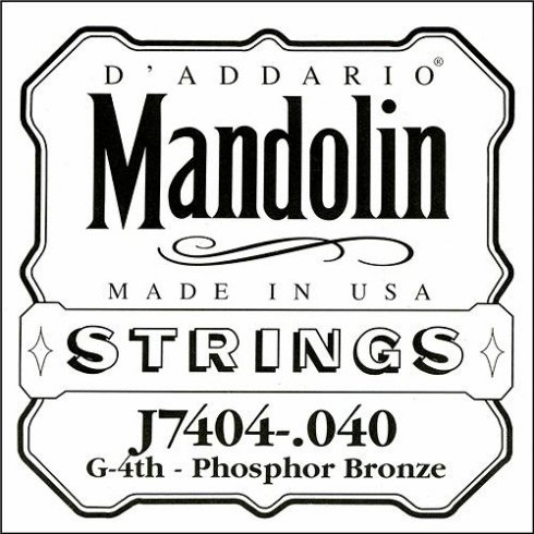 D'Addario J7404 Phosphor Bronze Mandolin Loopend Single String .040 4th