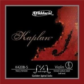 DAddario Kaplan Golden Spiral Solo Violin Strings (E-tinned high carbon steel) Heavy Ball-End