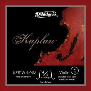 D'Addario Kaplan Solutions Non-Whistling Medium Tension E-String for 4/4 Scale Violin