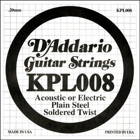 D'Addario KPL008 Soldered Twist Plain Steel Single String .008