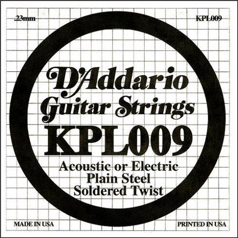 D'Addario KPL009 Soldered Twist Plain Steel Single String .009