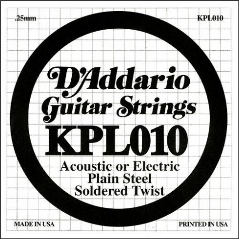 D'Addario KPL010 Soldered Twist Plain Steel Single String .010