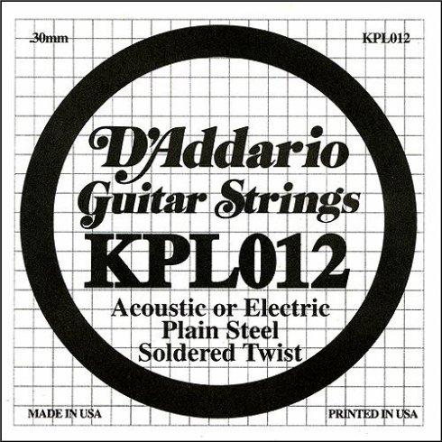 D'Addario KPL012 Soldered Twist Plain Steel Single String .012
