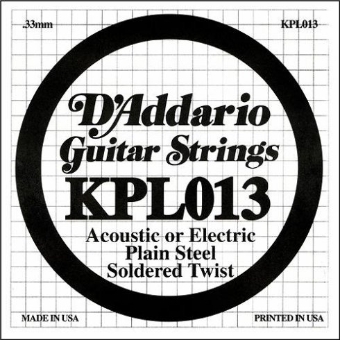 D'Addario KPL013 Soldered Twist Plain Steel Guitar Single String .013