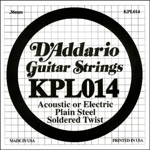 D'Addario KPL014 Soldered Twist Plain Steel Single String .014