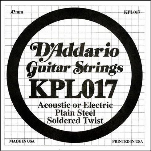 D'Addario KPL017 Soldered Twist Plain Steel Single String .017