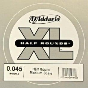 D'Addario NHR045M Nickel Half Round XL Bass Single String .045 Medium Scale