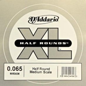 D'Addario NHR065M Nickel Half Round XL Bass Single String .065 Medium Scale