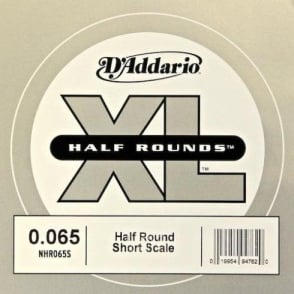 D'Addario NHR065S Nickel Half Round XL Bass Single String .065 Short Scale