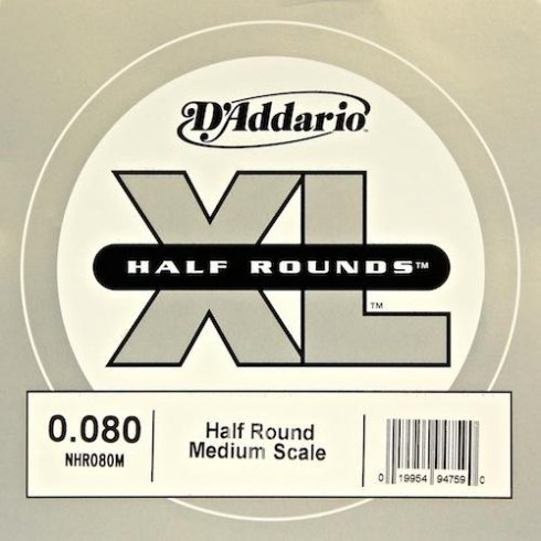 D'Addario NHR080M Nickel Half Round XL Bass Single String .080 Medium Scale