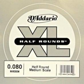 D'Addario NHR080M Nickel Half Round XL Bass Single String .080 Medium Scale