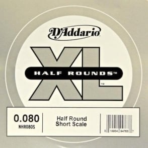 D'Addario NHR080S Nickel Half Round XL Bass Single String .080 Short Scale