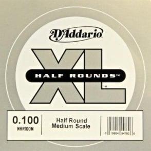 D'Addario NHR100M Nickel Half Round XL Bass Single String .100 Medium Scale