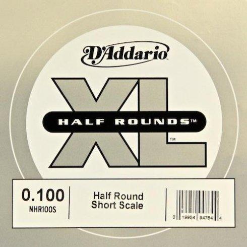 D'Addario NHR100S Nickel Half Round XL Bass Single String .100 Short Scale