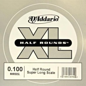 D'Addario NHR100SL Nickel Half Round XL Bass Single String .100 Super Long Scale