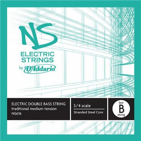 D'Addario NS616 NS Electric Traditional Bass Single Low B, 3/4 Scale, Medium Tension