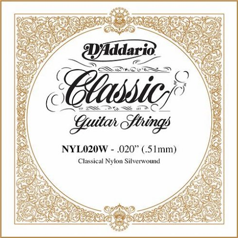 D'Addario NYL020W Silverplated Wound on Nylon Single String .020