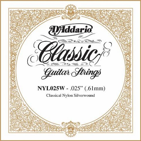 D'Addario NYL025W Silverplated Wound on Nylon Single String .025