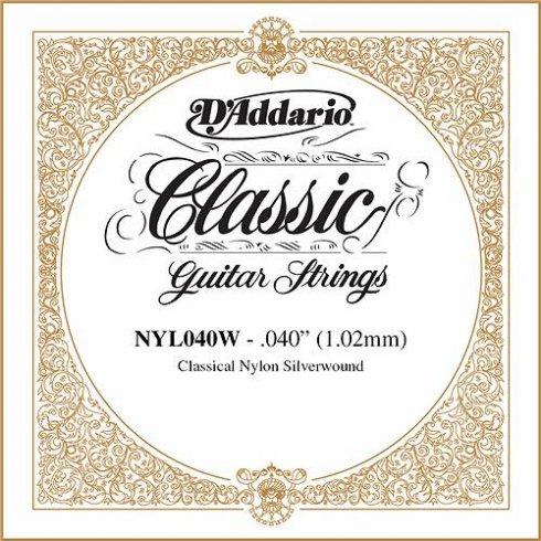 D'Addario NYL040W Silverplated Wound on Nylon Single String .040
