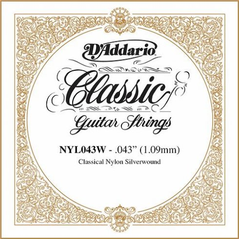 D'Addario NYL043W Silverplated Wound on Nylon Single String .043