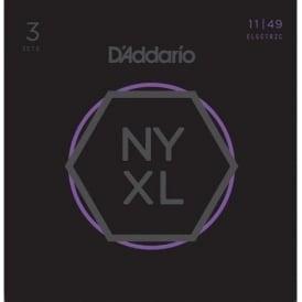 D'Addario NYXL1149-3p Nickel Wound Electric Guitar Strings 11-49 Jazz Blues Gauge, 3-Pack