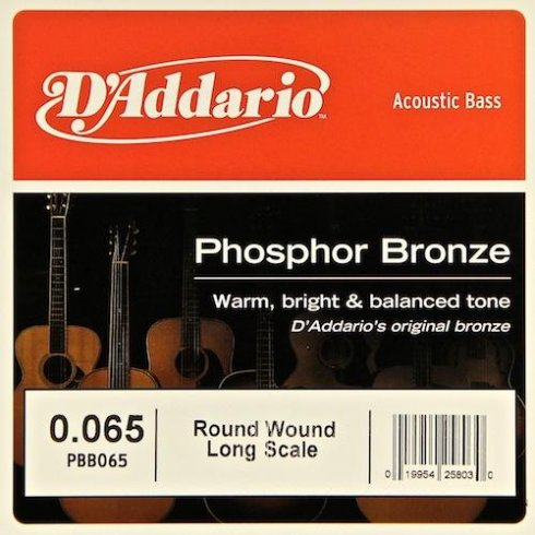 D'Addario PBB065 Phosphor Bronze Wound Bass Single String .065 Long Scale