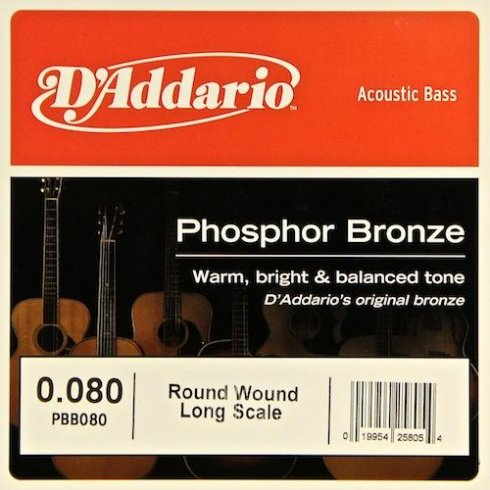 D'Addario PBB080 Phosphor Bronze Wound Bass Single String .080 Long Scale