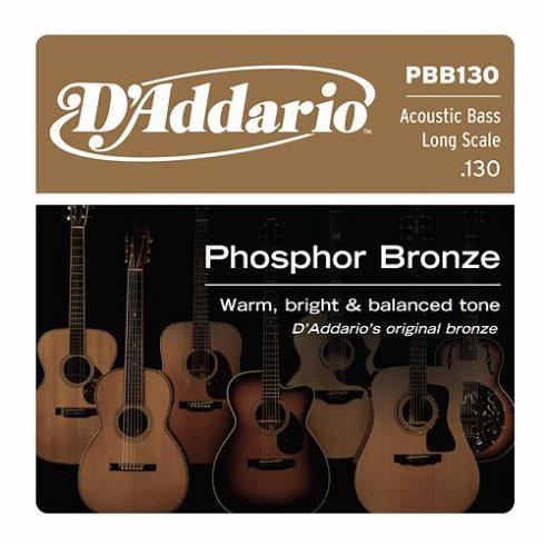 D'Addario PBB130 Phosphor Bronze Wound Bass Single String .130 Long Scale