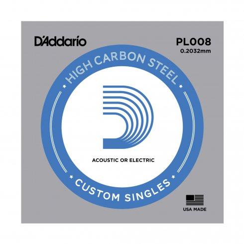 D'Addario PL008 Plain Steel Ball End Single String .008