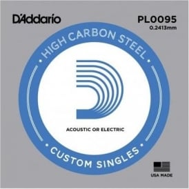 D'Addario PL0095 Plain Steel Ball End Single String .0095