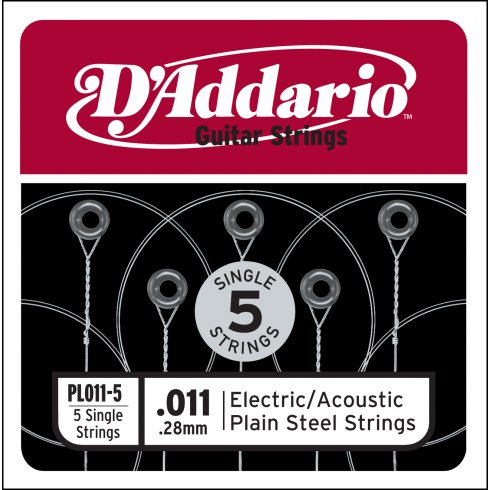 D'Addario PL011 Plain Steel Ball End Single String .011 5-Pack Bundle