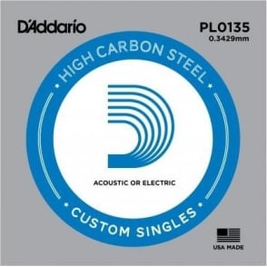 D'Addario PL0135 Plain Steel Ball End Guitar Single String .0135