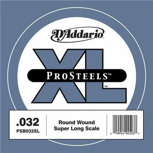 D'Addario PSB032SL ProSteels XL Bass Single String .032 Super Long Scale