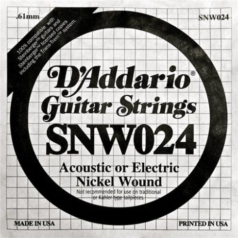 D'Addario SNW024 Nickel Wound Double Ball End Single String .024