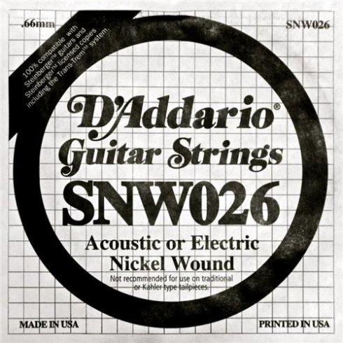 D'Addario SNW026 Nickel Wound Double Ball End Single String .026
