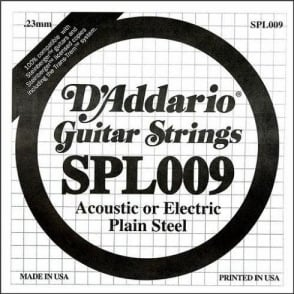 D'Addario SPL009 Steinberger Double Ball End Plain Steel Single String .009