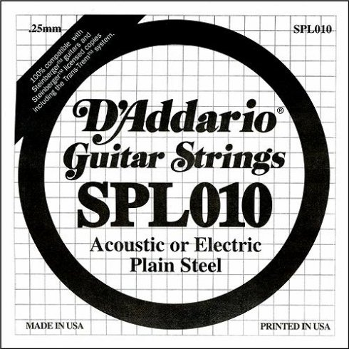 D'Addario SPL010 Steinberger Double Ball End Plain Steel Single String .010