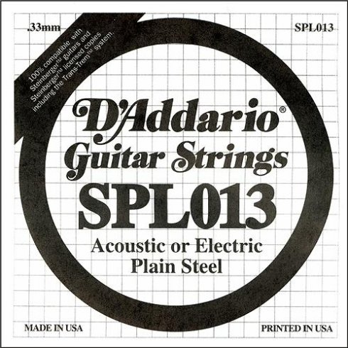 D'Addario SPL013 Steinberger Double Ball End Plain Steel Single String .013