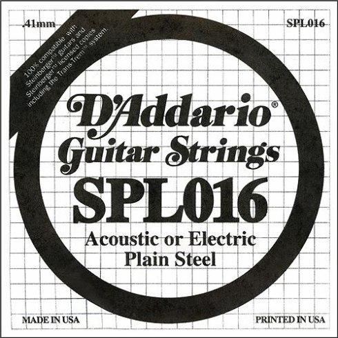 D'Addario SPL016 Steinberger Double Ball End Plain Steel Single String .016