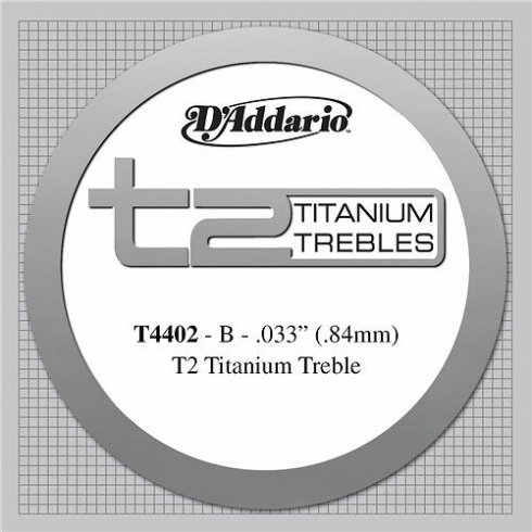 D'Addario T4402 T2 Titanium Extra Hard Tension Single String 2nd B-String