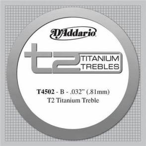 D'Addario T4502 T2 Titanium Normal Tension Single String 2nd B-String