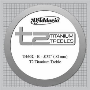 D'Addario T4602 T2 Titanium Hard Tension Single String 2nd B-String