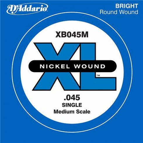D'Addario XB045M Nickel Wound XL Bass Single String .045 Medium Scale