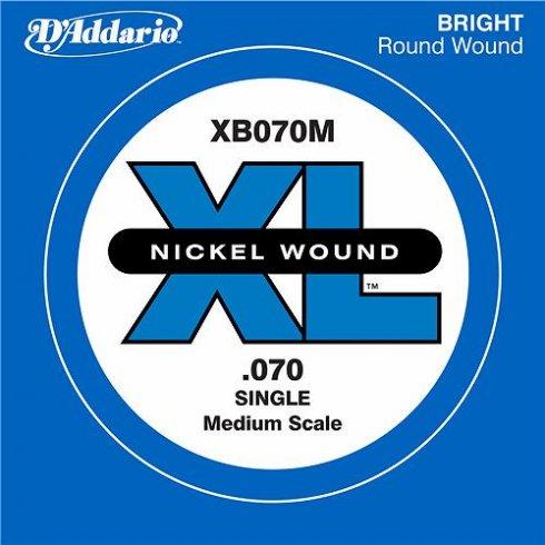 D'Addario XB070M Nickel Wound XL Bass Single String .070 Medium Scale