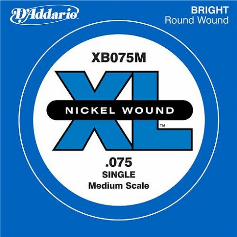 D'Addario XB075M Nickel Wound XL Bass Single String .075 Medium Scale
