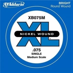 D'Addario XB075M Nickel Wound XL Bass Single String .075 Medium Scale