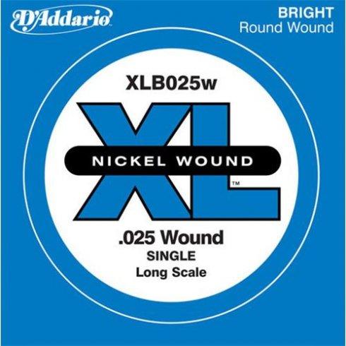 D'Addario XLB025w Nickel Wound XL Bass Single String .025 Long Scale