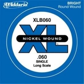 D'Addario XLB060 Nickel Wound XL Bass Single String .060 Long Scale